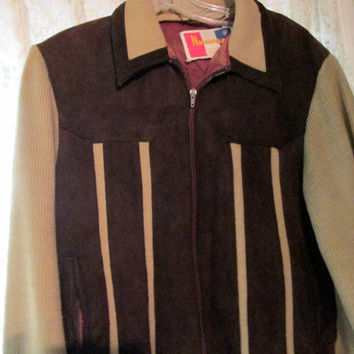 70s Men Leather Sweater / Zip Up Brown Med Sweater Jacket / Hipster
