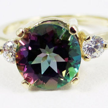 14k Yellow Gold Mystic Topaz and White CZ Ring