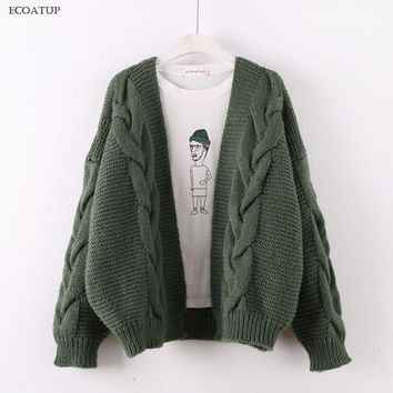 Nice Thick Knitted Cardigan Women Autumn Winter Drop Shoulder Cable Twist Knitting Sweater Jacket Female Loose Oversize Cardigan