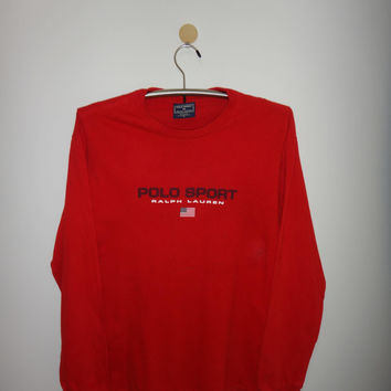 Vintage Polo Sport Long Sleeve Shirt RL 1990s Polo Ralph Laren Red