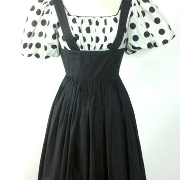 Into the Woods Fairy Tale 60s Dress Black & White Polka Dot Puffed Sleeve Suspender Jumper xs