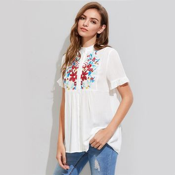 Embroidery Crinkle Shirt Yoke Frilled Sleeve White Blouse Women Cute Tops Casual Button Up Tunic Blouse
