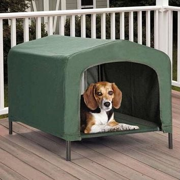 Portable Outdoor Dog House Elevated Covered  Doggy Cot Water-Resistant in Green