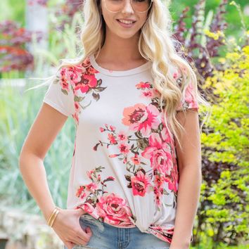Floral Sheer Spring Knot Top