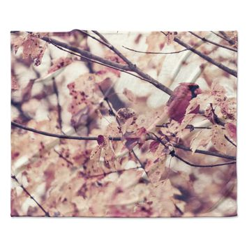 "Qing Ji ""Angry Bird in Fall Leaves"" Orange Nature Fleece Throw Blanket"