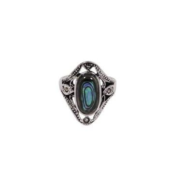 Antique Style Sterling Silver Ring With Genuine Abalone Oval Center Stone and Genuine Marcasite Stones in Rhodium Plate Finish