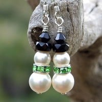 Swarovski Pearls Handmade Snowman Earrings Peridot Crystals Christmas