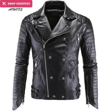 Fashion Men's Winter Leather Jackets Faux Jacket Korean Stylish Slim Fit Coats Men Moto Skull Suede Jacket For Men ,m-5xl ,pa2