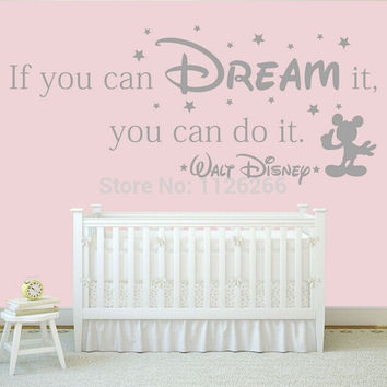 If You Can Dream It You Can Do It Cartoon Wall Stickers for Kids Rooms  Vinyl Children Decals for Baby Room Decor