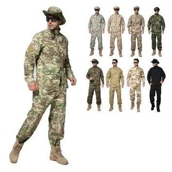Camouflage suit sets army military uniform combat airsoft war game uniform jacket + pants army uniform