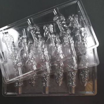 Pretzel Rod Chocolate Candy Mold Pumpkin and Mummy Witch Finger Spiders and Bats Set of Three