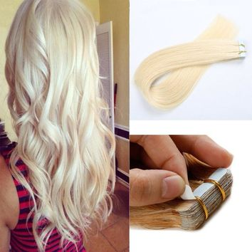 20pcs Tape in Hair Extensions Seamless Skin Weft Real Soft Hair for Fashion Women