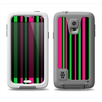 The Pink & Green Striped Samsung Galaxy S5 LifeProof Fre Case Skin Set