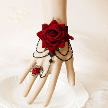 charming Red and Black Wrist Corsage Halloween Wear Flower and lace With finger