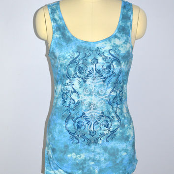 Prairie Rose Country Western Tank Size Large Crystal Studs Top