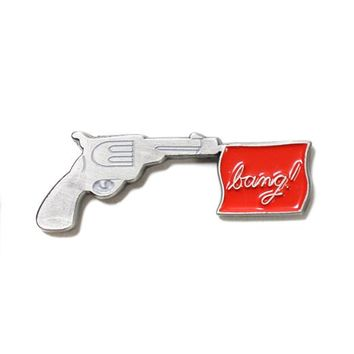 Bang! Flag Gun Pin - Silver