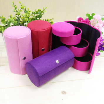 1 pc Fashion multi layer Women Jewelry Velvet Ring Earring Storage Container Box Case Holder home orgnization