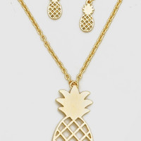 Gold or Silver Pineapple Necklace Earrings SET