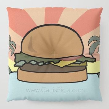 Burger Paradise Floor Pillow Square TV Show Decorative Television Fan Cover Pop Culture Humor Funny Art Cushion Hamburger Cheese Fandom Soft