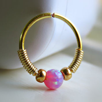 pink opal tragus piercing - pink opal nose ring - pink opal tragus hoop - pink opal cartilage ring - tragus jewelry - opal septum ring