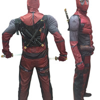 Halloween Party Costumes Super Hero Deadpool Muscle Costume with Mask Kids/Adults Cosplay Costume