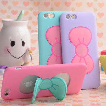 Case For iPhone 7 6S Plus Fashion Lovely 3D Bow-knot Soft Silicon Case For iPhone 6 6S 5 5SE 4 4S Candy Color Stand Holder Cover