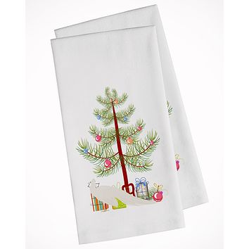White Peacock Peafowl Christmas White Kitchen Towel Set of 2 BB9293WTKT