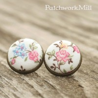 Floral Stud Earrings, Fabric Button Jewelry, Shabby Romantic Chic Flowers by Patchwork Mill