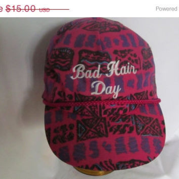 Bad Hair Day Embroidered Baseball Cap Joke For Women or Hairdresser Hat 90s Grunge