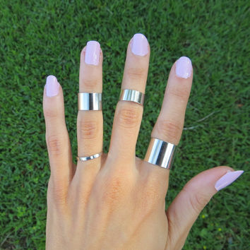 Silver Stacking Midi Rings Set - Wide and Thin Band