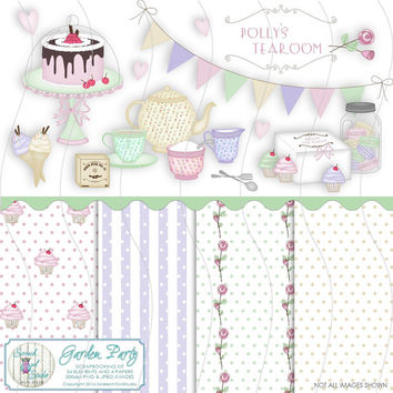 Clipart, Tea Party, Tea Set, Scrapbooking Kit, Digikit, Journaling, Card Making, Paper Craft Supplies, Instant Download - Polly's Tearoom