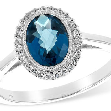 14K White Gold Oval London Blue Topaz and Diamond Halo Ring