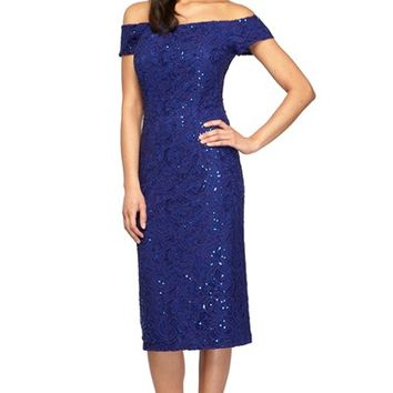 Women's Alex Evenings Lace Off the Shoulder Sheath Dress,