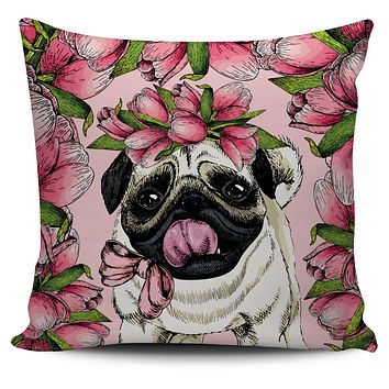 Goofy Floral Pug Pillow Cover