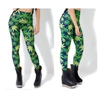Weed Leaf Print Womens Leggings, Black Milk Style - cannabis, ganja, marijuana