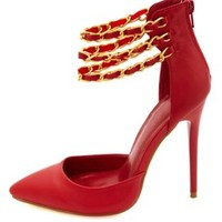 Ankle Chain Pointed Toe D'Orsay Pumps by Charlotte Russe - Red