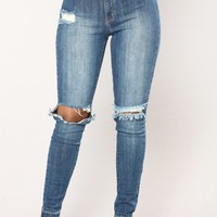 Assisi Skinny Jeans  - Medium Blue Wash
