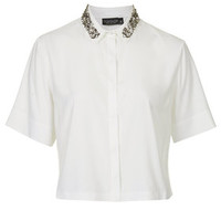 Embellished Collar Shirt - Ivory