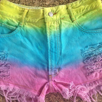 Rainbow Painted Dip Tie Dyed Ombre Bleach Woman Dye Denim Studded High Waist Levi Shorts