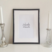 Inhale Exhale - black on white - DIN A4 - Yoga Wall Art Print handmade written - original by misssfaith