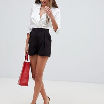 ASOS DESIGN tailored a-line shorts with pleat front at asos.com