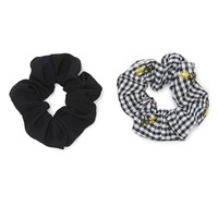 Gingham Floral Scrunchie Set