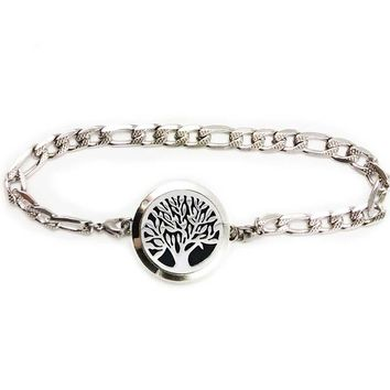 Tree of Life Pattern aromatherapy bracelet Sunflower perfume locket bangle Silver essential oil diffuser bracelet with pads