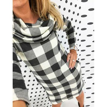 High collar checkered Printed bodycon dress