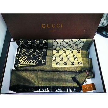 """GUCCI"" Popular Women Men Smooth Silk Cashmere Cape Scarf Scarves Shawl Accessories"