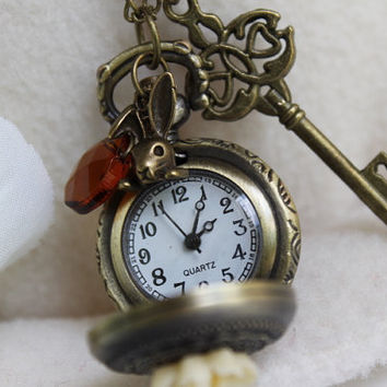 Alice in Wonderland Pocket Watch Necklace With by emilymoon2003