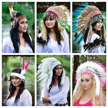 Indian Native American Style Faux Fur Feather Headdresses ~ Halloween Costume