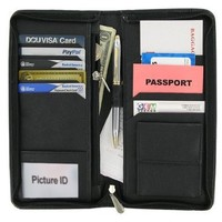 Leather Zipper Travel Credit Card Passport Wallet (Black)