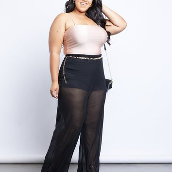 Plus Size Wide Leg Mesh Pants