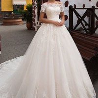 Short Sleeves Ivory Lace Bridal Wedding Dress Custom Size 0 2 4 6 8 10 12
